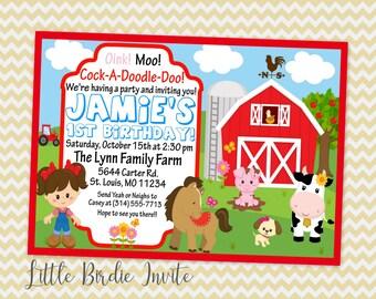 Barnyard Birthday Invitation   Girls Barnyard Birthday Invitation   Farm Birthday Invitation   Farm Animals Birthday Invitation   Printable