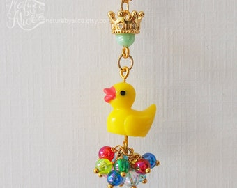 duck necklace, resin necklace, miniature animal necklace, girls necklace, birthday gift, gold crown, resin charm necklace, rubber ducky