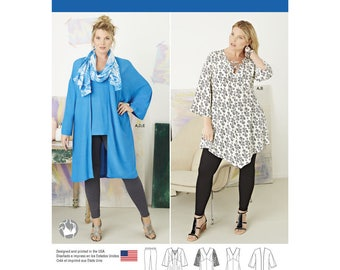 Simplicity 8097 Plus Size Tunic, Top, Kimono and Knit Leggings FF (18W–24W) – GG (26W–32W)