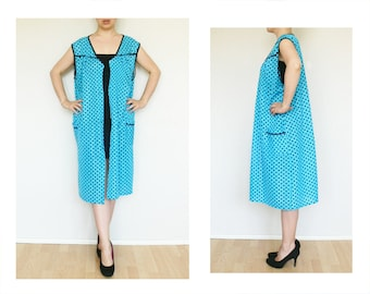 Polka dot Kitchen Apron XL XXL womens aprons, Vintage full apron blue black