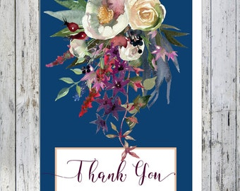 Blush and Wine Floral Thank You Note Card