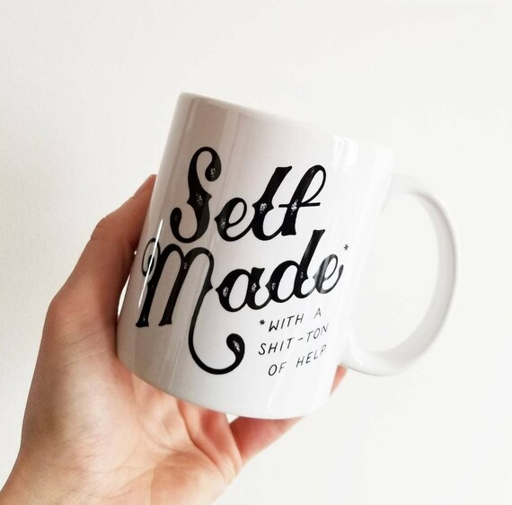 "Handmade Joshua Red ""Self Made"" Coffee Mug - Hand Drawn Coffee Cup - Handmade Coffee Mug"