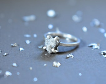 Raw Diamond Engagement Ring, Large Uncut Diamond and Sterling, Wedding Ceremony Ring Exchange, Diamond 50th Anniversary, April Birthday Gift