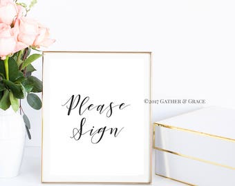 Guest Book Sign - Please Sign - Guest Book Printable - Guest Book- Wedding Decor - Wedding Sign - Party Decor - Gifts - Black and White