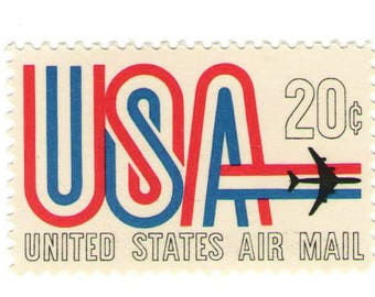 Unused 1968 - USA and Jet Red, White, and Blue Stripe - Vintage Airmail Postage Stamps Number C75