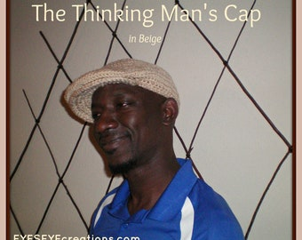 The THINKING MAN'S Cap - Beige - Crochet Kangol style cap, newsboy, golf, driver hat - Made to Order