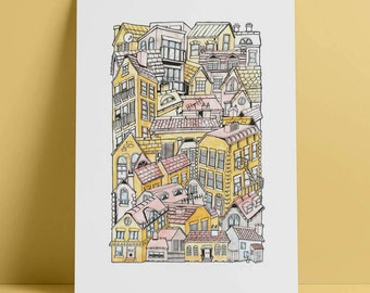 Buildings A3 illustrated stacking cityscape print Active