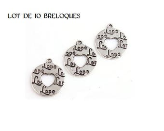 SET of 10 round engraved heart charms love Silver (B04)