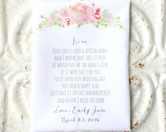 mother IN LAW handkerchief . your son is such a special man wedding hankie . scalloped edge cotton hanky . wedding handkerchief . gift .