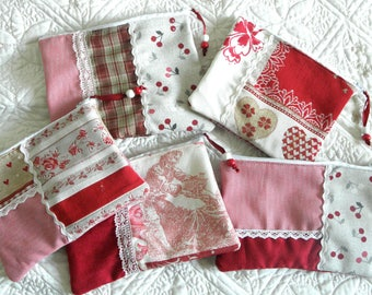 LOT 5 fabric zippered POUCHES, lace, Red