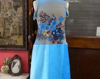 Bohemian Dress, Upcycled Dress, Cotton Dress,Sleeveless Dress,Shabby Chic Dress,Summer Dress