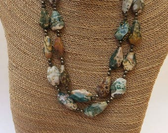 Double Strand of Ocean Jasper and Pyrite Necklace