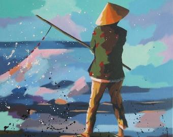 "original acrylic painting, vietnam, landscape, ""Sea Treasure"", free shipping"