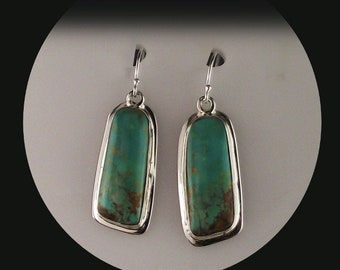 Smooth Sterling and Turquoise Earrings by Melissa Yazzie