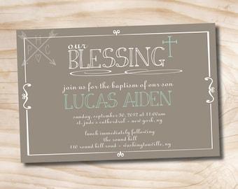 Simple Baptism Invitation - Printable digital file or printed invitations