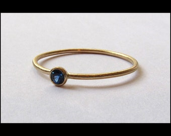 Blue Sapphire 14k Gold Ring - Yellow, White or Rose Gold