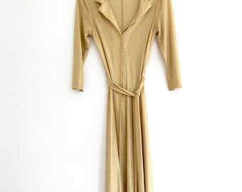 1990's Betsey Johnson Gold Shimmer Dress, Size Extra Small