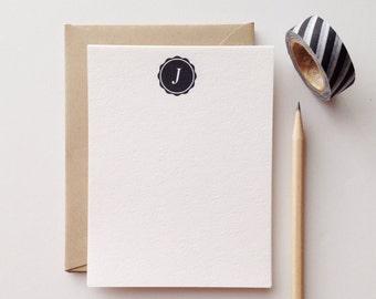 Seal Monogram Flat Note Card Set