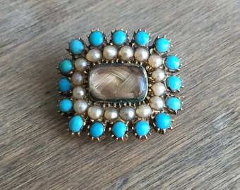 Victorian Turquoise and seed pearl mourning brooch 10k