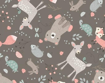 Little Ones - Little Friends Grey from 3 Wishes Fabric