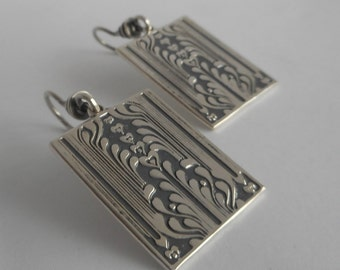 Sterling Silver Art Deco Earrings Bohemian Earrings, Made in Montana Fine Jewelry Birthday Gift Anniversary Gift for Wife Art Deco Jewelry