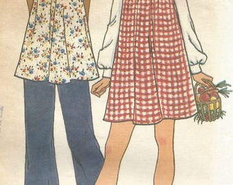 Vintage 70s Butterick 3594 Misses Maternity Square Neck Smock Tunic Top or Dress with Pants Sewing Pattern Size 14 Bust 36