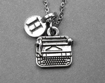 Typewriter Necklace, typewriter charm, author necklace, silver plated pewter, initial necklace, initial jewelry, personalized, monogram