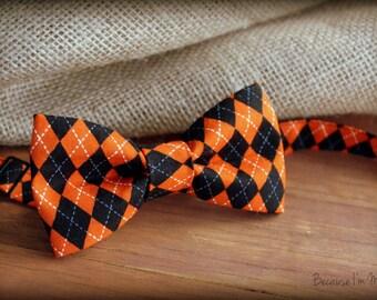 Mens Halloween Bow Tie - mens orange black cotton bowtie - teen bow tie - mens custom bow tie - pre-tied bow tie for men - bow tie gift