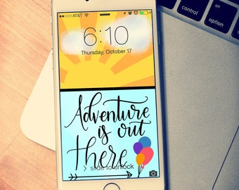 Adventure is Out There Phone Wallpaper, Lock Screen, iPhone Wallpaper, Android Wallpaper, Cell Phone Background, iPhone Background