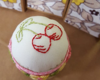Hand Embroidered Pin Cushion and pot 'Cherries & pink trim'