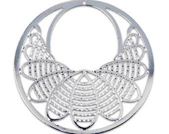 Filigree Findings for Earrings Pendant Rhodium Plated 46mm