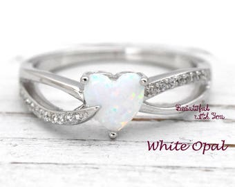 Womens Opal Ring, Engagement Ring Opal, Womens Wedding Ring, Wedding Band Womens, Lab Created Opal Engagement Ring, Promise Ring for Her