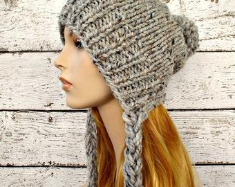 Instant Download Knitting Pattern - Slouchy Ear Flap Hat Pattern - Knit Hat Pattern Charlotte Split Brim Slouchy Beanie Pattern - Womens