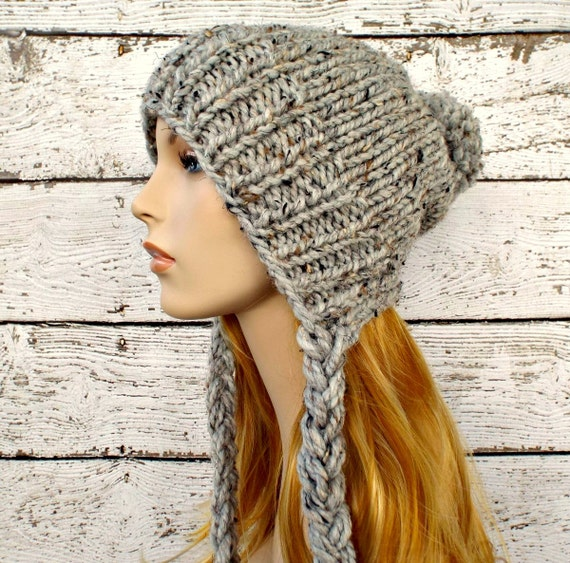 Instant Download Knitting Pattern Slouchy Ear Flap Hat Pattern