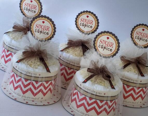 "Five "" Sugar & Spice"" Mini Diaper Cakes. Baby Shower Centerpieces."