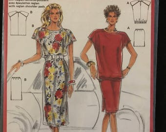 Burda 5797 - 1980s Super Easy Loose Fitting Top with Banded Hem Option and Skirt in Above or Below Knee Length - Size 10 12 14 16 18 20
