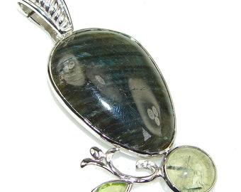 Labradorite, Moss Prehnite, Peridot Sterling Silver Pendant - weight 16.60g - dim L -2 5 8, W -1 1 8, T -1 4 inch - code 8-wrz-15-24