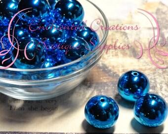 20mm Dark Blue Christmas Ball Beads Qty 10