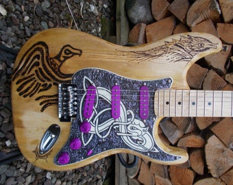 Pyrograph partscaster - one of a kind S type electric guitar