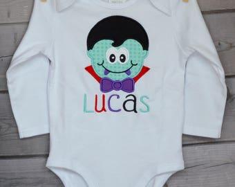 Personalized Halloween Dracula Frankenstein Skeleton or Mummy Applique Shirt or Bodysuit for Boy or Girl