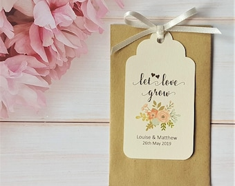10 Personalised Wedding Favour Seed Packet Envelopes & Tags - Let Love Grow