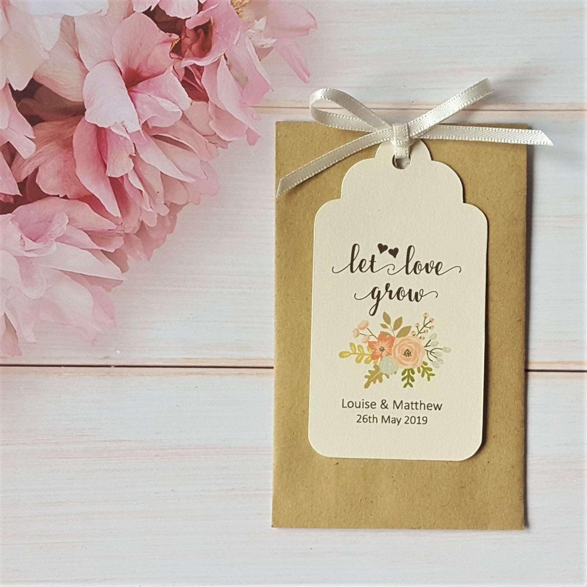 10 Personalised Wedding Favour Seed Packet Envelopes & Tags