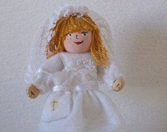 First Communion Girl, Felt Art Doll, Felt Decoration