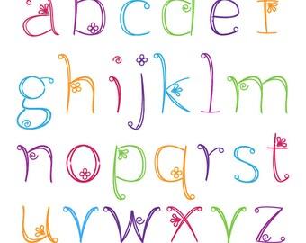Doodle Alphabet, police Girly dessinés à la main, l'utilisation de minuscules - commerciale et personnelle