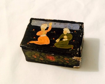 Tiny Papier Mache Trinket Snuff Match Box - Antique - Powder Pill Stamp - Black Figural Floral - Collectible Vintage