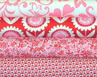 Hello Sunshine Valentine Fat Quarter Bundle of 4 by Michael Miller