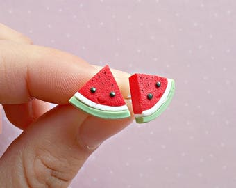 Watermelon Earrings - Summer Earrings - Watermelon Jewelry - Kawaii Earrings - Stud Earrings - Watermelon Jewellery - Fruit Earrings