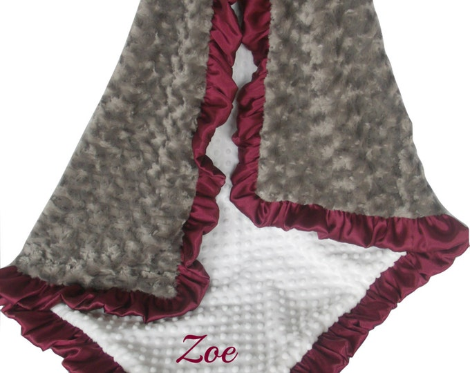 Burgundy Ruffle with Cream Dot Charcoal Gray Rose Swirl Minky Blanket,  3 sizes