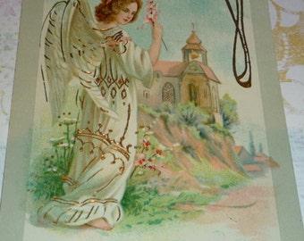 Beautiful Easter Angel Antique Gel Postcard