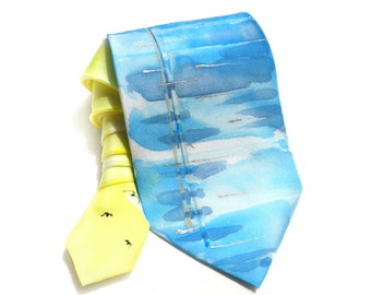 Man Tie. Hand Painted Silk Tie. Gift for Him. Boat Tie. Yellow Blue Summer Tie. Artistic OOAK Tie. Anniversary Birthday Gift. MADE to ORDER